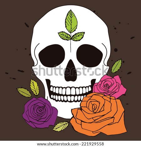Simple vector white skull with colorful roses and leaves, illustration for day of the dead - stock vector