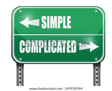 simple versus complicated road sign illustration design over a white background - stock vector