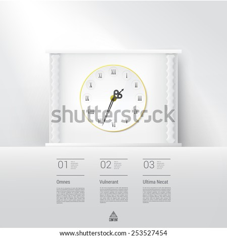 Simple Vintage White Mock Up Old Style Mock Up Clock graphics Presentation Chart Vector Concept Infographic Page Layout Element.  - stock vector