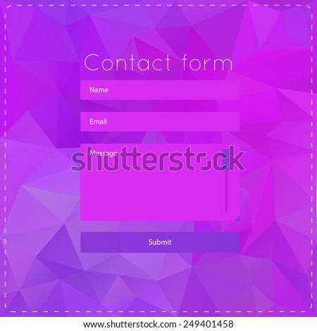 Simple violet contact us form templates. The vector illustration for ui, web games, tablets, wallpapers, and patterns. - stock vector