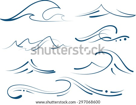 simple waves set - stock vector