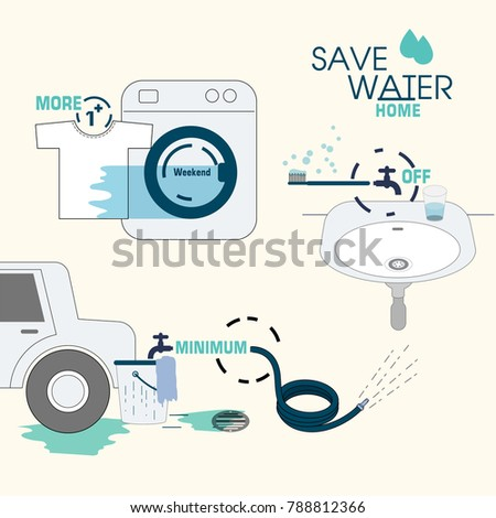 Simple ways save water home vector stock vector 788812366 for Ways to save water at home