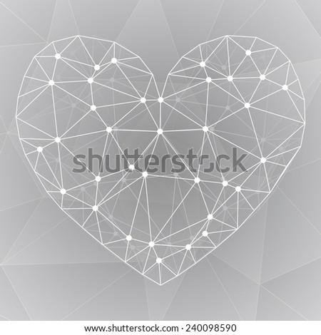 Simple web icon in vector, heart illustration polygon - stock vector