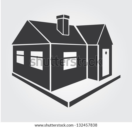 Simple web icon in vector: house - stock vector