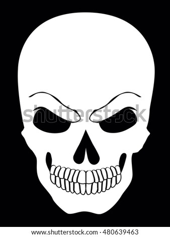 Simple web icon in vector skull black and white  illustration.