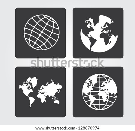 Simple web icons in vector:  planet earth - stock vector