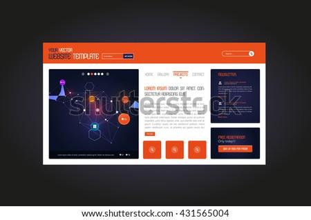 Simple Website Template, Minimalistic Design. - stock vector