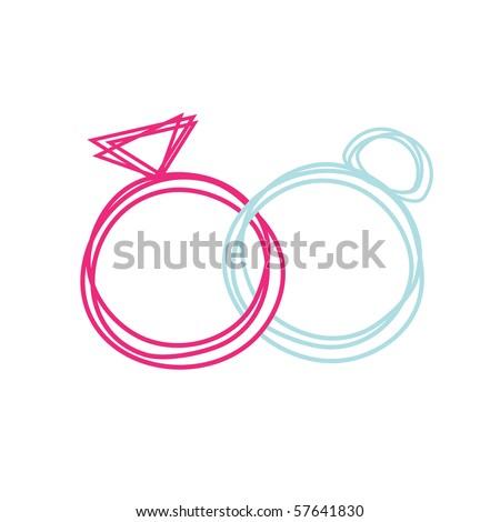 Simple Wedding rings, vector. - stock vector