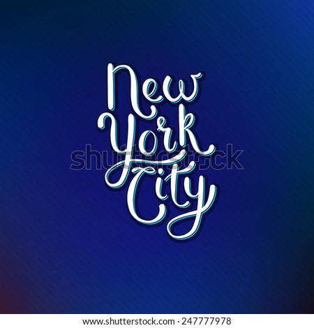 Simple White Text Design for New York City Concept on Abstract Blue Violet Background. Vector illustration. - stock vector