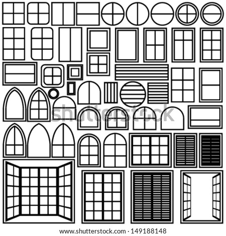 Simple windows of different shape - stock vector