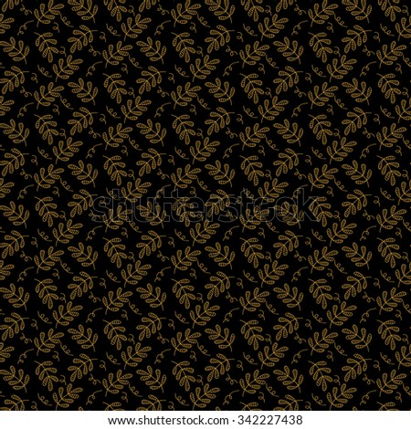 Simple winter floral seamless pattern on black background. Gold & Black vector backdrop. Christmas themed design. Hand drawn vintage illustration.