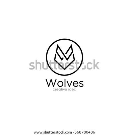 simple wolf creative concept logo design stock vector 568780486