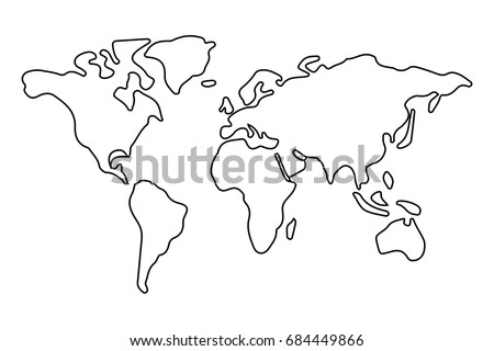 Simple world map outline vector de stock684449866 shutterstock simple world map outline gumiabroncs Gallery