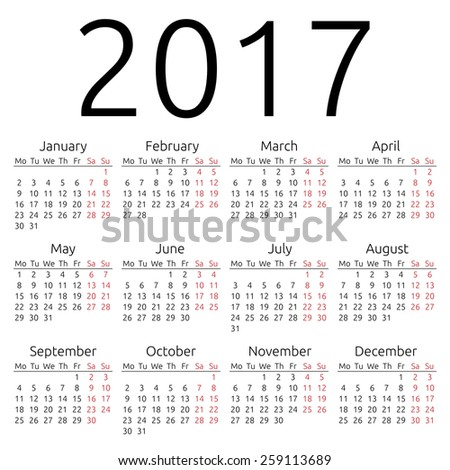 Simple 2017 Year Calendar Eps 8 Stock Vector 259113689 - Shutterstock
