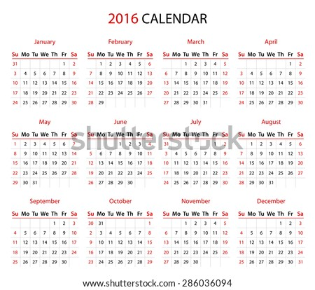 Simple 2016 year calendar in black and red - stock vector