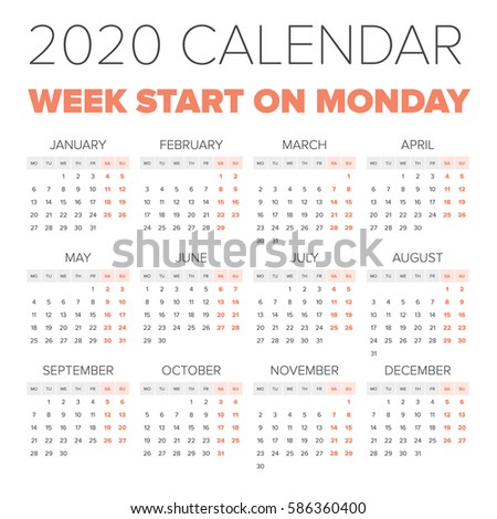 calendars that start with monday