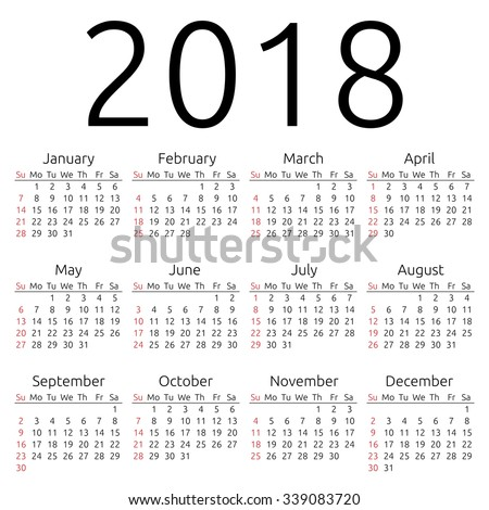 Simple 2018 year calendar, week starts on Sunday, EPS 8 vector