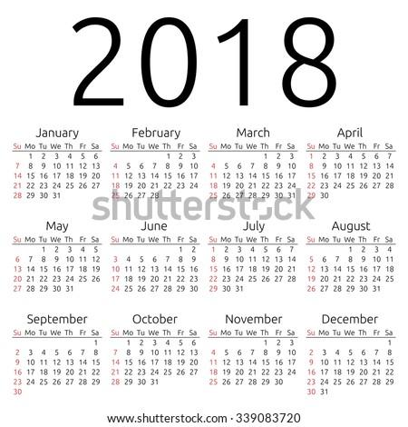 Simple 2018 year calendar, week starts on Sunday, EPS 8 vector