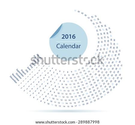 Simple 2016 year circle calendar in blue - stock vector