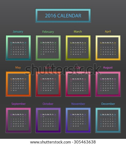 Simple 2016 year square calendar in bright colors - stock vector