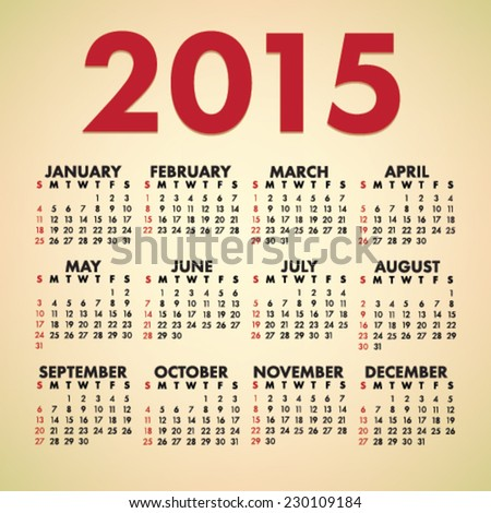 Simple 2015 year vector calendar  - stock vector