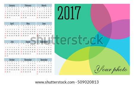 Simple 2017 year vector calendar / 2017 calendar design