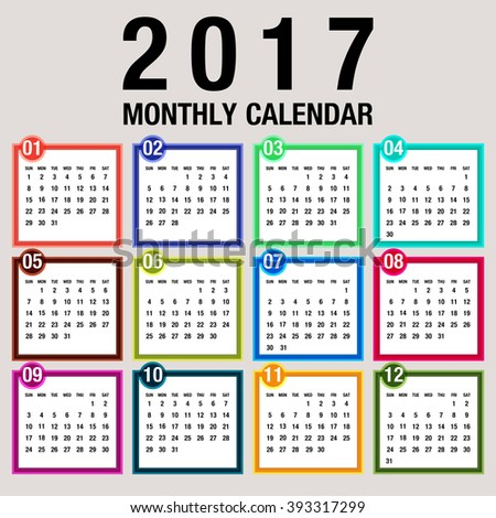 Simple 2017 Year Vector Calendar 2017 Stock Vector ...