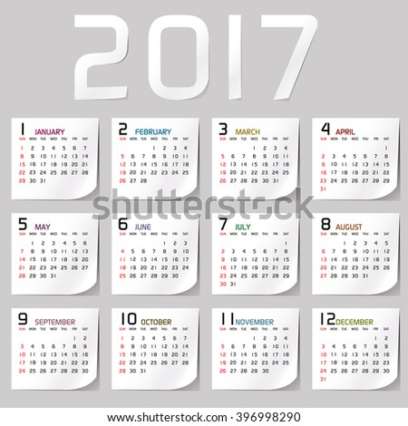 2017 Calendar Stock Images Royalty Free Images Vectors