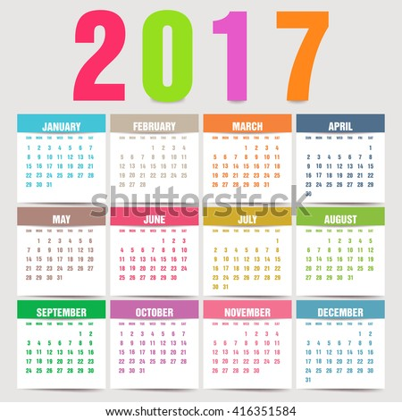 Simple 2017 year vector calendar / 2017 calendar design / 2017 calendar vertical - week starts with Sunday.