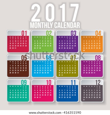 Simple 2017 year vector calendar / 2017 calendar design / 2017 calendar vertical - week starts with Sunday. - stock vector
