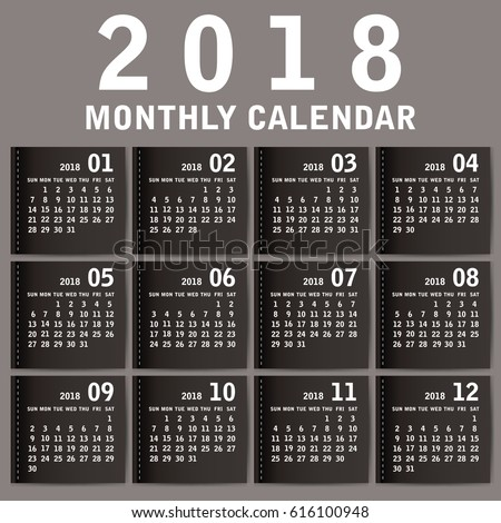 Simple 2018 year vector calendar / 2018 calendar vertical - week starts with Sunday