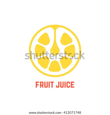 simple yellow fruit juice logo. concept of freshness badge, peel, delicious, yummy, agriculture, bar, premium, sap, crush. flat style trend modern brand design vector illustration on white background - stock vector