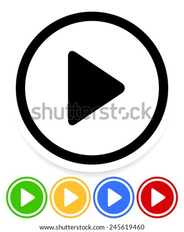 Simple yet stylish play buttons - Activation, initiation, begin, start - stock vector