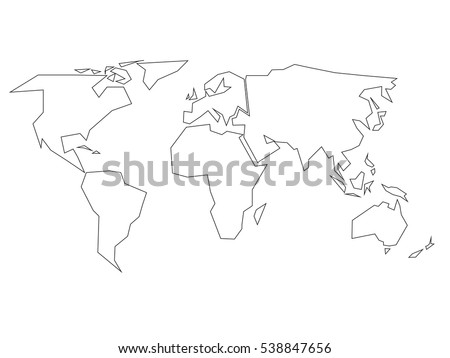 Simplified Black Outline Of World Map Divided To Six Continents. Simple  Flat Vector Illustration On