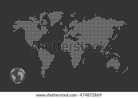 Simplified computer generated world map black vectores en stock simplified computer generated world map in black and white dots vector eps 10 gumiabroncs Image collections
