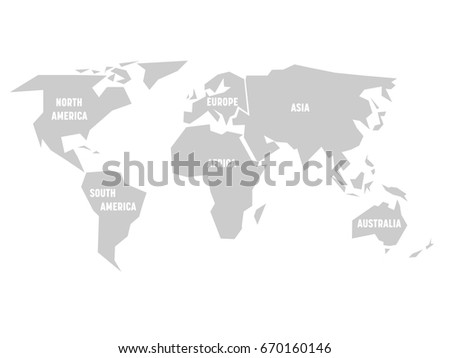 Simplified grey silhouette world map divided vector de simplified grey silhouette of world map divided to six continents simple flat vector illustration on gumiabroncs Gallery