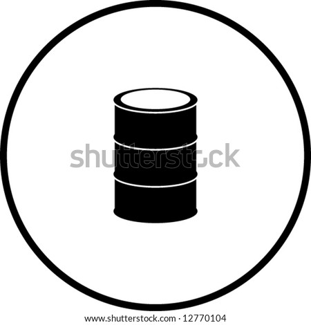 simplified illustration of a cask or metal barrel to be used as a sign or symbol