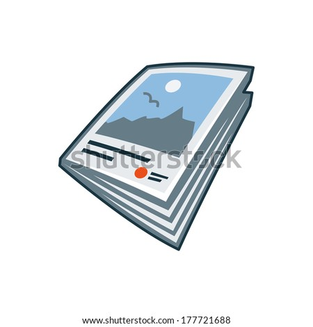 Simplified isolated magazine or brochure icon in cartoon style. Print publishing icon series.   - stock vector