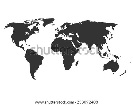 Simplified silhouette of world map, vector illustration - stock vector
