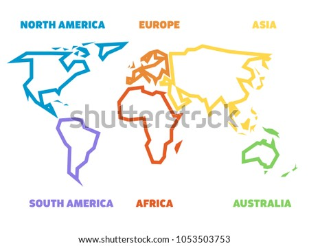 Simplified thick outline world map divided stock vector 1053503753 simplified thick outline of world map divided to six continents simple flat vector illustration on gumiabroncs Choice Image