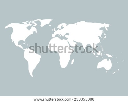 Simplified world map with rounded edges on blue background - stock vector