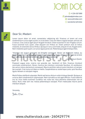 Simplistic cover letter design with design elements - stock vector