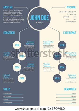 Simplistic yet eyecatching modern resume cv curriculum vitae template design - stock vector