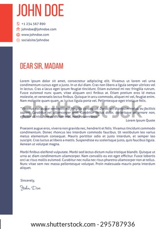 Simplistic Yet Modern Cover Letter Curriculum Stock Vector 295787936