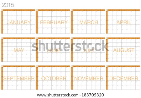 Simply designed frame calendar for year 2015 - stock vector