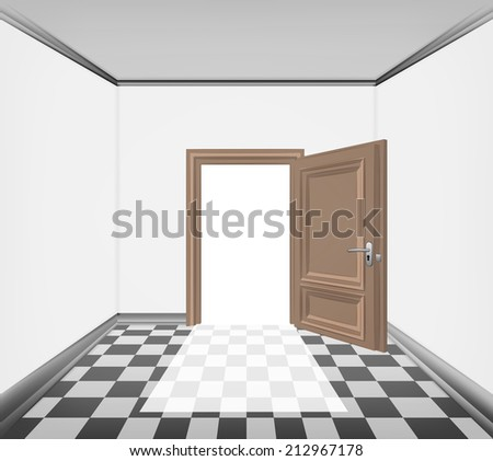 simply room open door and checked paved floor vector illustration - stock vector