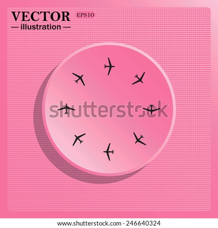 Simulating the structure of plastic. On a pink background pink circle with a shadow.  Fashion Icon Aircraft, vector illustration, EPS 10 - stock vector