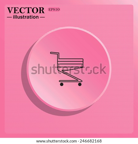 Simulating the structure of plastic. On a pink background pink circle with a shadow. Shoping basket , vector illustration, EPS 10