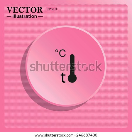 Simulating the structure of plastic. On a pink background pink circle with a shadow. Thermometer , vector illustration, EPS 10 - stock vector