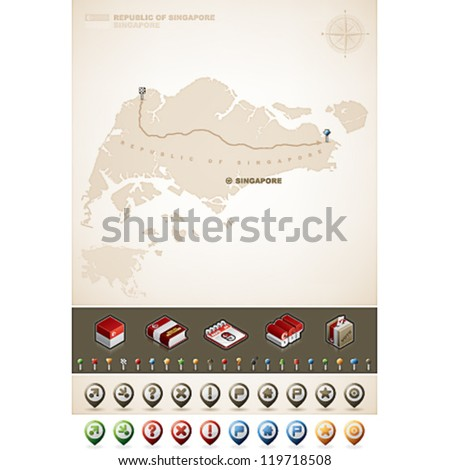 Singapore and Asia maps, plus extra set of isometric icons & cartography symbols set - stock vector